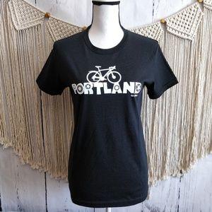 American Apparel Bike Portland Black Graphic T XL